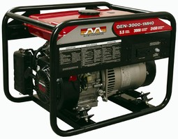 Generator produces steady 3,000 W for 7.4 hr on one tank.