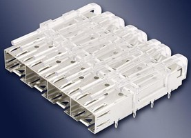 SFP EMI Cage is solderable and has press-fit pins.