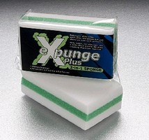 Sponge erases dirt and stains without harmful chemicals.