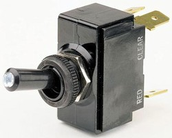 Toggle Switch indicates position through illuminated tip.