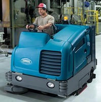 Scrubber-Sweeper has integrated 3.9 ft³ hopper.