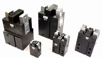 Pneumatic Angular Grippers have fail safe toggle lock.