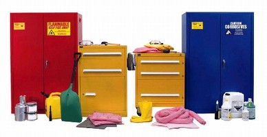 Cabinets provide HazMat storage and cleanup solution.