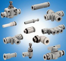 Pneumatic Fittings come in threaded and push-in versions.