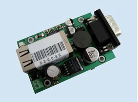 Adapter converts serial port into Ethernet interface.