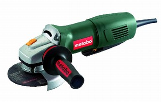 Electronic Angle Grinder features non-locking paddle switch.