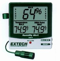 Humidity Meter offers audible and visual alarms.