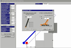 Software simulates lift crane conditions.
