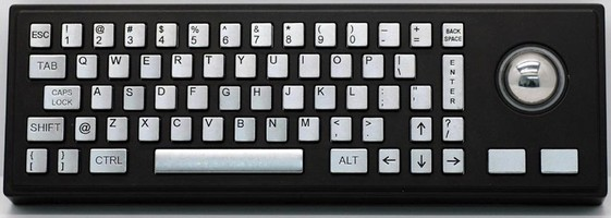 All-Metal, Fully Sealed Keyboard has integrated trackball.