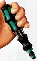 Bit-Holding Screwdriver can be hand or machine powered.
