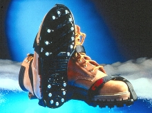 Studded Footwear reduces slips and falls on ice.