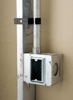 Electrical Box Supports work with stud depths up to 4 in.