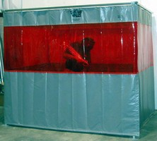 Portable Work Cell provides welding/grinding area barrier.