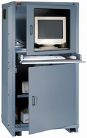 Computer Cabinet is available with casters for portability.
