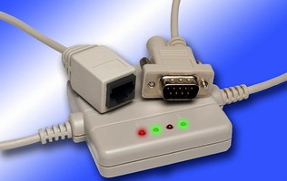 Converter Cable connects serial device to Ethernet network.