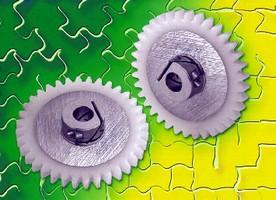 Aluminum-Acetal Gears feature integral fastening system.