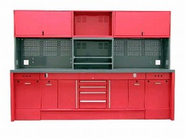 Workstations feature 16-gauge welded construction.