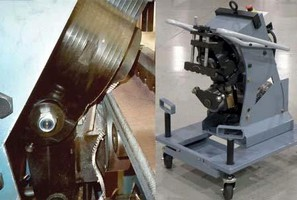 Plate Edge Bevelers operate at up to 10 feet per minute.
