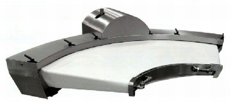 Curved Flat Belt Conveyors transfer small food products.