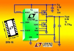 DC/DC Controller uses standard 5 V N-Channel MOSFETs.