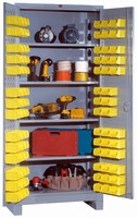 All-Welded Storage Cabinets have removable plastic bins.