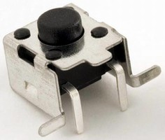 Surface Mount Tact Switch allows for PC board edge mounting.