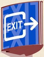 Arrow-Shaped Sign helps direct corridor traffic.