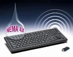 Wireless RF Keyboard is sealed to NEMA 4X.