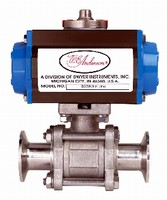 Sanitary Ball Valves feature electric or pneumatic actuator.