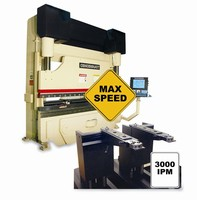 High-Speed MAXFORM Press Brake Cuts Cycle Times with 3,000 ipm Linear-Motor-Drive Backgage - An Industry First