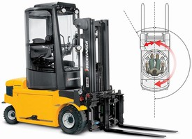 Electric Forklift Truck features 180-degree rotating cabin.