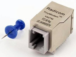 Miniature Modem Module has RJ-11 connector.