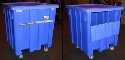 Bulk Container offers hinged panel for ergonomic access.