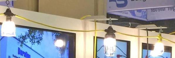 Waterproof Streamers provide overhead temporary lighting.