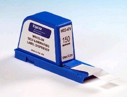 Dispensers contain write-on, self-laminating labels.