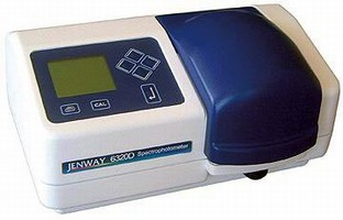 Spectrophotometer covers UV to visible light range.