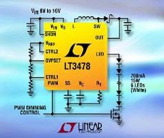 DC-DC Converters drive high current LEDs.