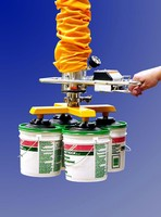 Vacuum Tube Lifter Handles Four 5-Gallon Plastic Tubs at Once