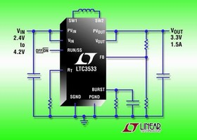DC-DC Converter features programmable frequency up to 2 MHz.