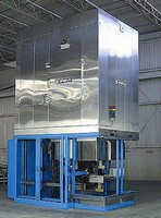 Vertical Conveyor Oven is gas-heated to 450°F.