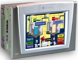 Combined PLC/Color HMI offers all-in-one control solution.
