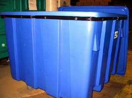 Bulk Container features reinforcing rim for strength.