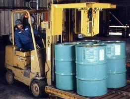 Forklift Attachment facilitates drum to pallet change-out.