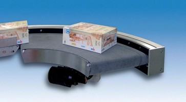 Belt Curve Conveyor transfers small and delicate parts.