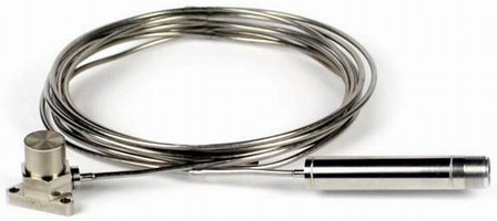 Accelerometer monitors vibration in high-temperature areas.