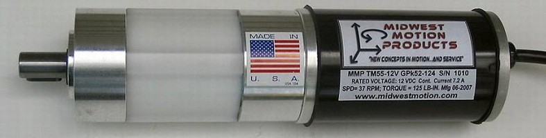 DC Gearmotor develops 125 lb-in. torque at 37 rpm.