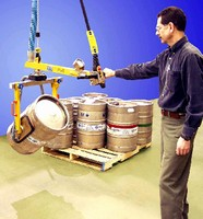 Vacuum Lifter-Rotator handles kegs, barrels, and cylinders.