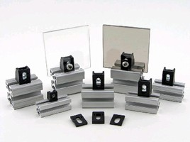 Blocks enable mounting of T-slotted aluminum profiles.