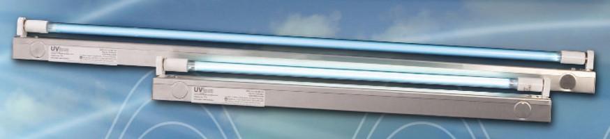 UV-C Fixture irradiates HVACR system surfaces.