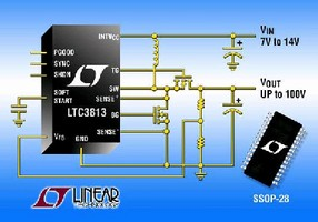 DC/DC Controller regulates output voltages up to 100 V.